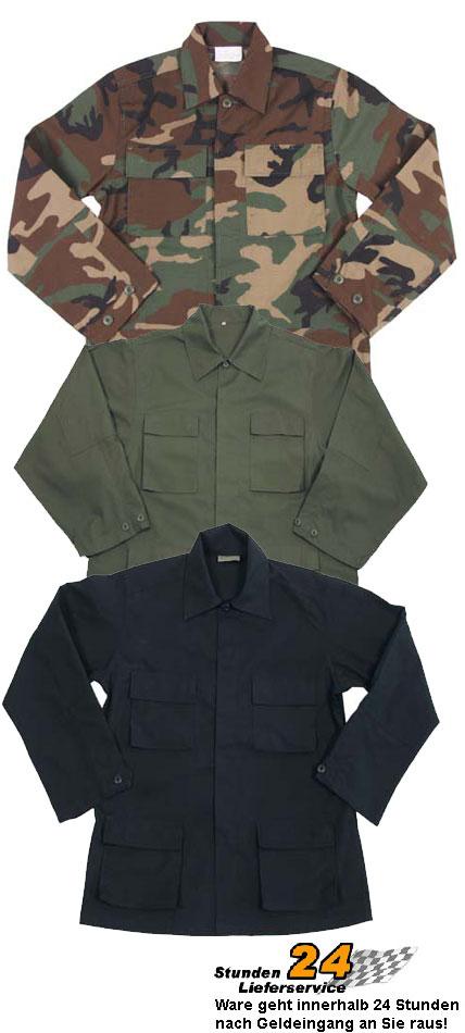US-BDU-Feldjacke-Canvas-Ripstop-Jacke-Rip-Stop-BW-Feldbluse-3-Farben-S-4XL