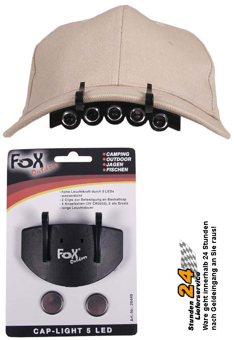 Fox-Outdoor-Cap-Light-5-LED-Leuchte-inkl-Batterien-Stirnlampe-Kopflampe